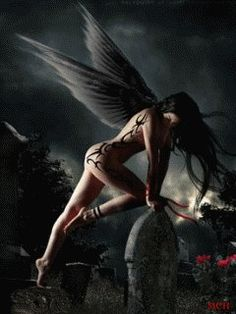 demonic, angelic creature with wings
